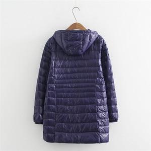 Image 4 - 새로운 가을 겨울 플러스 크기 6xl 다운 재킷 여성 울트라 라이트 화이트 오리 코트 파커 긴 슬림 후드 여성 outwear rh1340