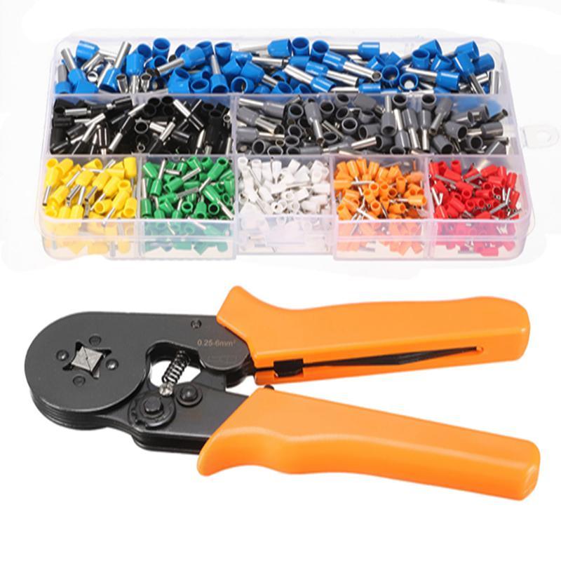 800Pcs Connector Terminal Kit Set With 175m Adjustable Ratcheting Ferrule Crimper Plier Crimping Tool все цены