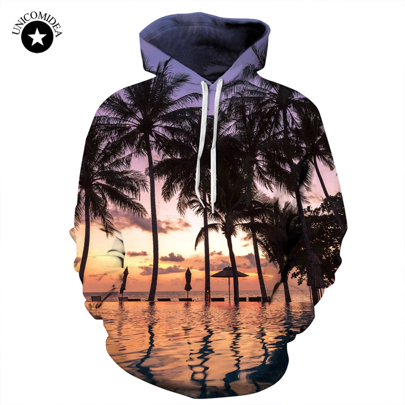 Unicomidea Hoodies Men Hooded Sweatshirt Hoodies With Cap 3d Print Brand Clothing Trees printed Hoody Tracksuits Tops Pullover