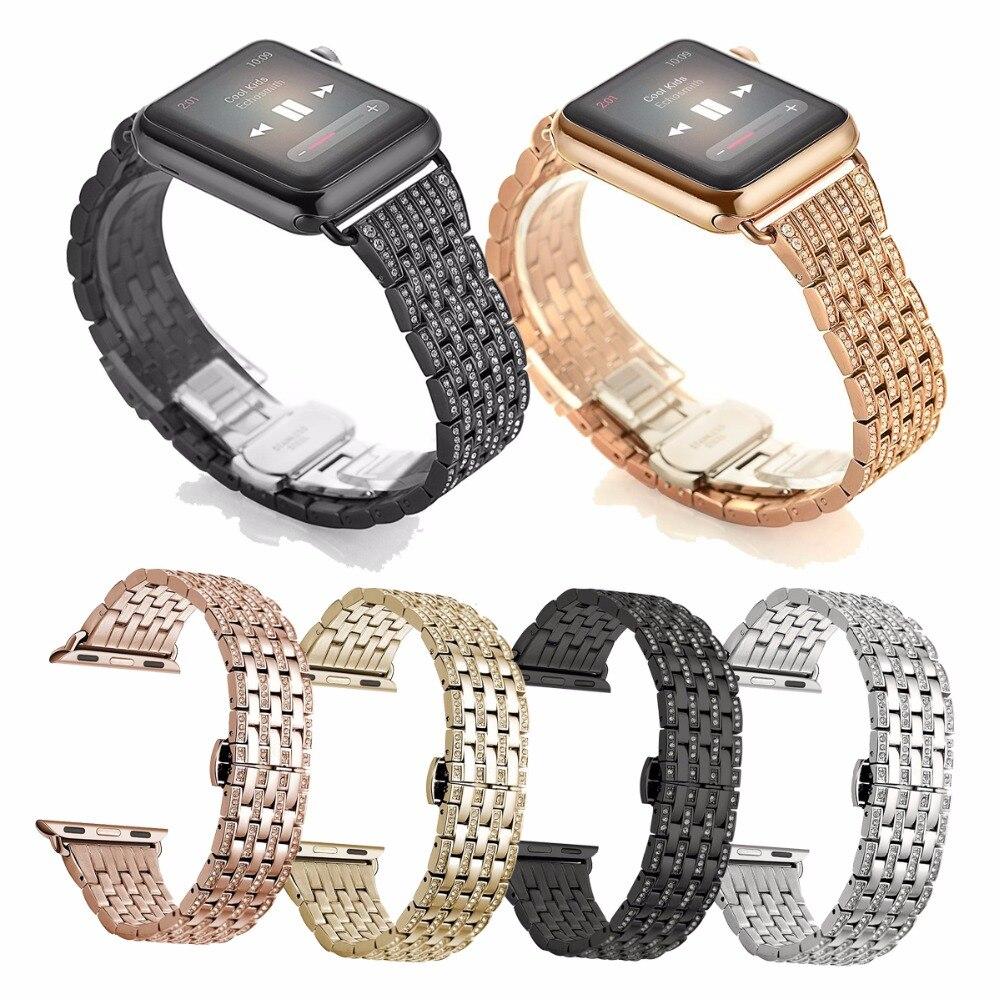 Pour Apple Montre Bande Cristal Strass Diamant Montre Bande De Luxe En Acier Inoxydable Bracelet Montre-Bracelet Bandes pour Series1 Series2