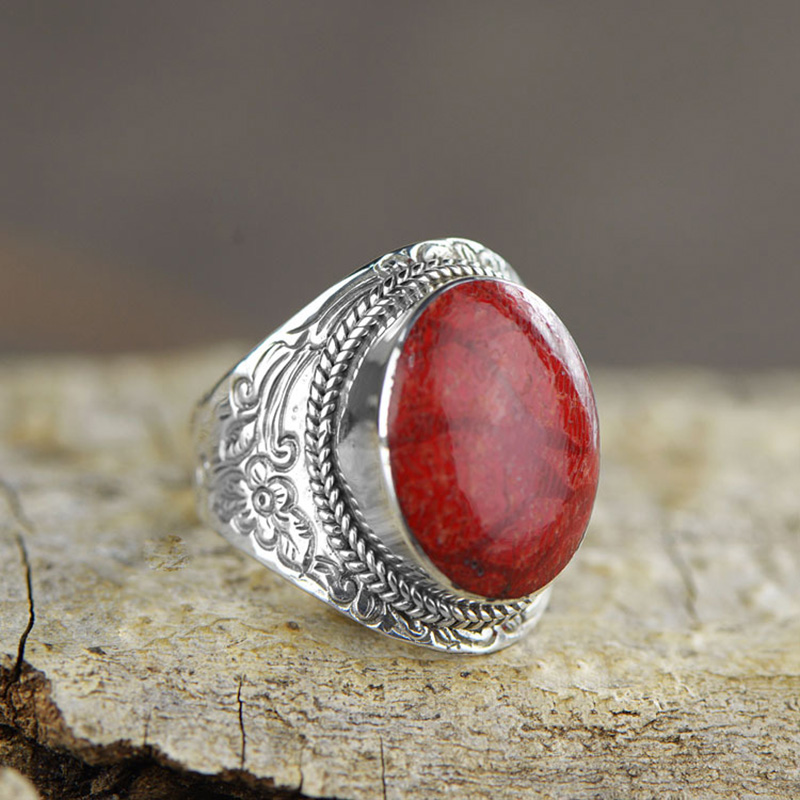 Guaranteed 925 Sterling Silver Large Rings Personalized Gifts For Women Natural Coral Beautiful Fine Jewelry Anillo