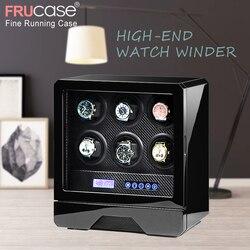 FRUCASE luksusowe pokrętło zegarka automatyczny zegarek wyświetlacz dla 4 zegarki 6 zegarki sterowania Stop  gdy pokrywa otwarte LED światła w Pudełka do zegarków od Zegarki na