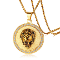 Influx male stainless steel zircon lion head pendant European and American golden lion pendant necklace