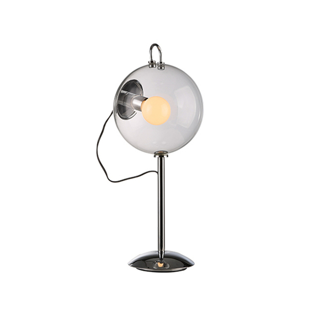 Transparent Sphere Ball Clear Glass Table Lamp Modern Metal Bedroom Office  Study Lamps 220V Led Reading