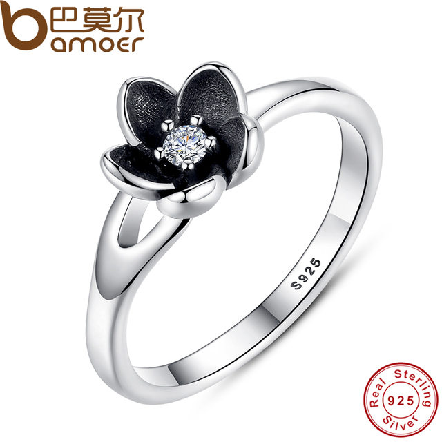 BAMOER New Collection Authentic Mystic Floral Flower Stackable Ring CZ & Black E