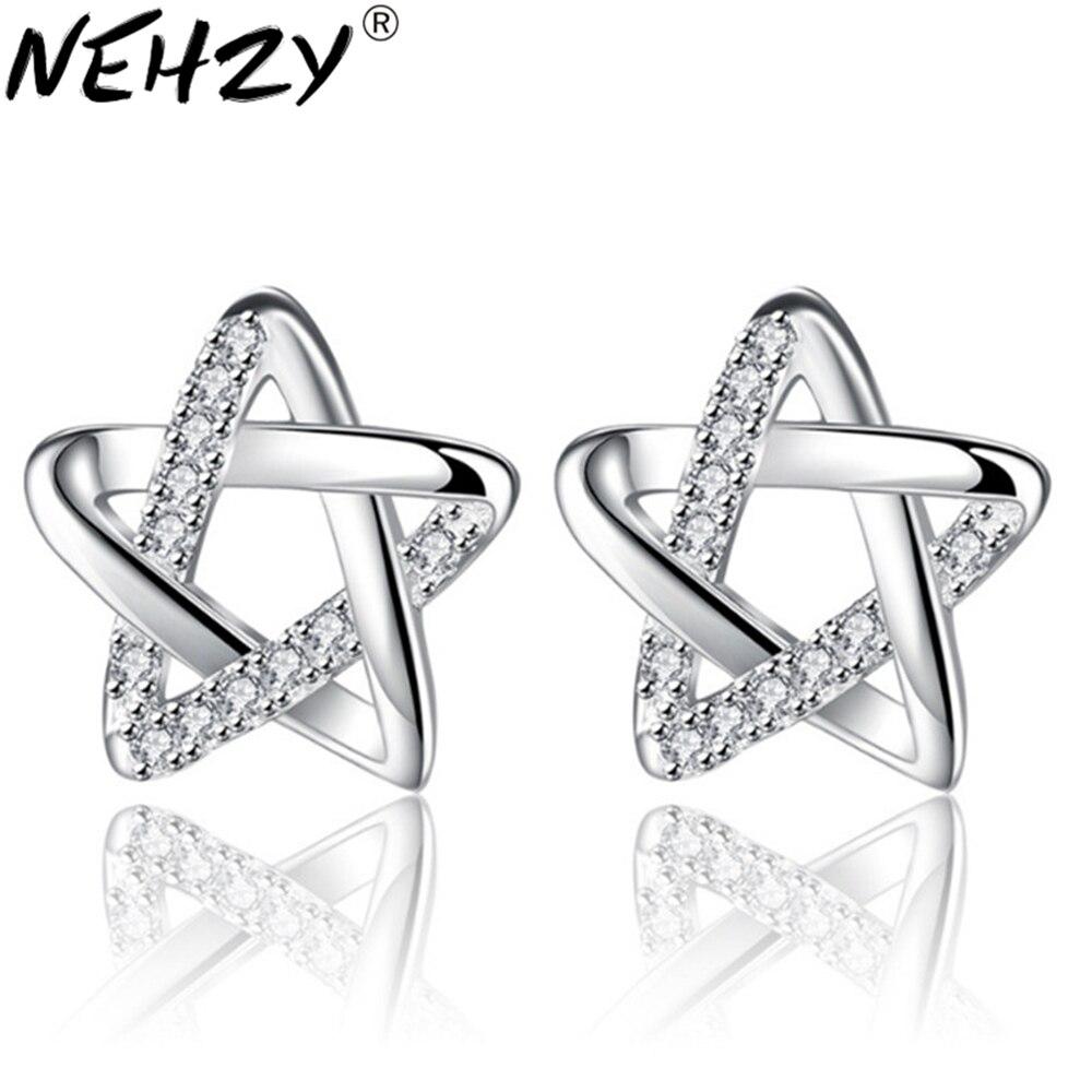 NEHZY Marke Stud Ohrringe luxus zirkon hohl fünfzackigen stern persönlichkeit temperament ohr ohr weiblichen silber ohrringe 10mm
