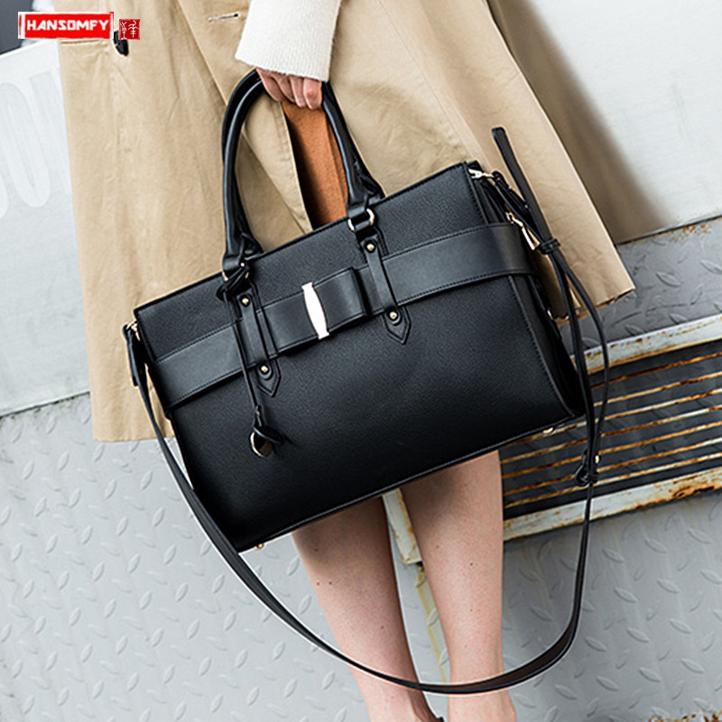 Women Document File Tote Bag Leather Laptop Billiard Shoulder Messenger Bag Female Wild Briefcases European And American Fashion