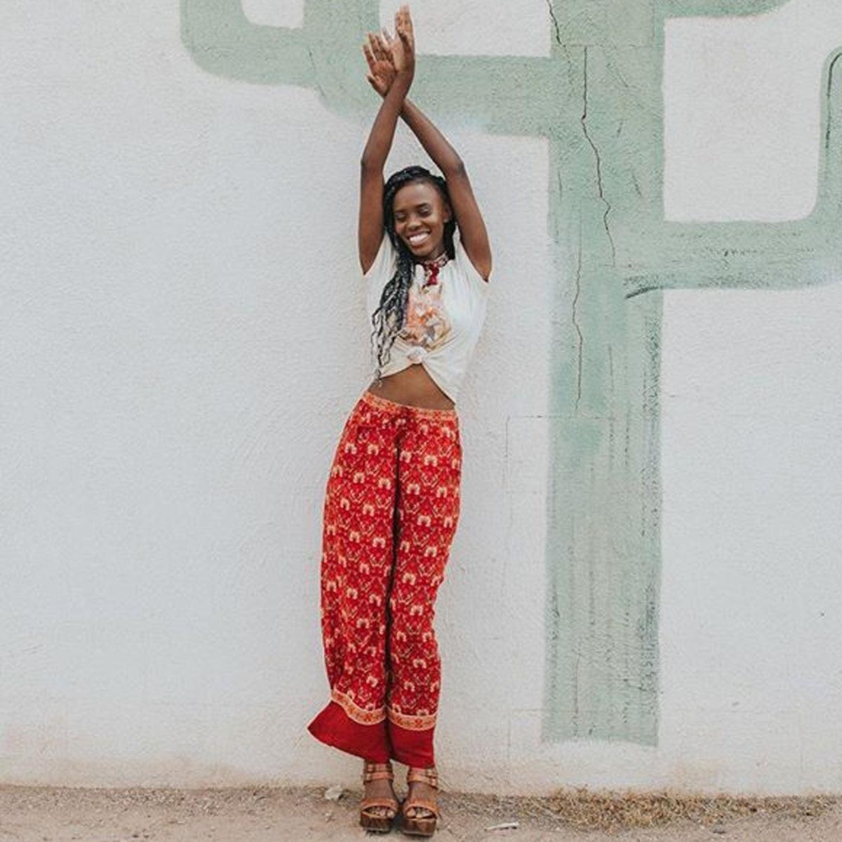 Jastie 2018 Bohemian verano pantalón rojo estampado Floral mujeres Pantalones Casual cintura elástica pierna ancha pantalones Boho Hippie ropa femenina