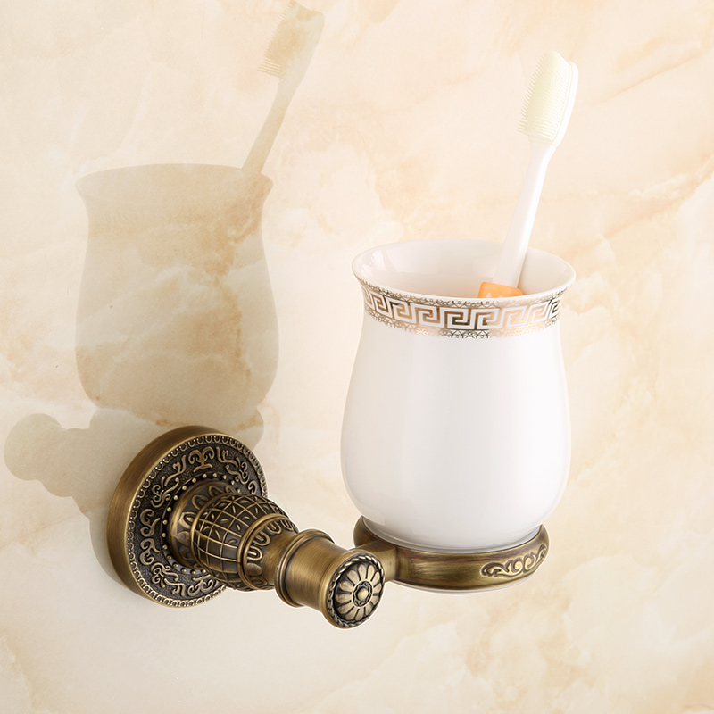 Antique Brass Toothbrush Holder Single Ceramic Cup Bronze Finish Retro Tumbler Wall Mount Bath Hardware Bathroom Accessories
