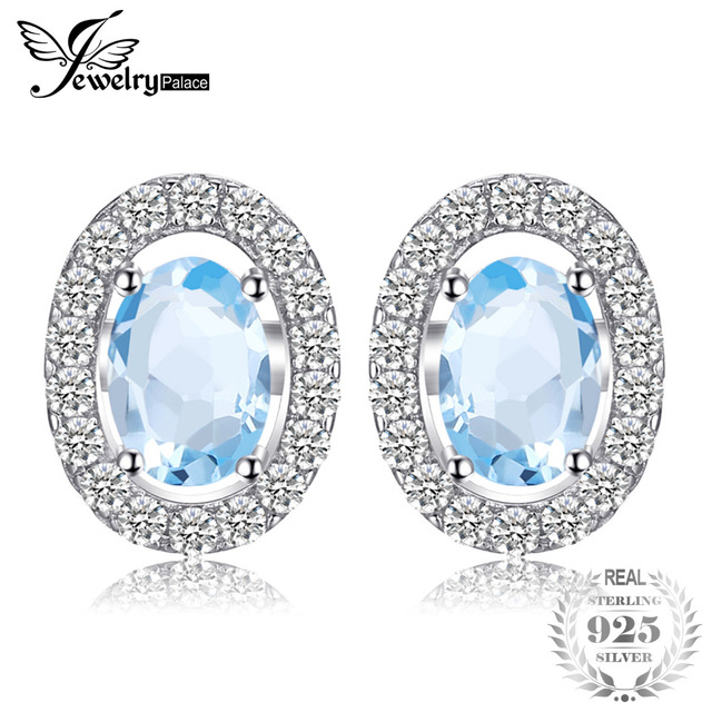 JewelryPalace Oval 1.1ct Natural Blue Topaz 925 Sterling Silver Stud Earrings Na