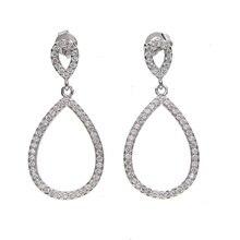 hollow oval charm micro pave cz european trendy fashion earring geometric design