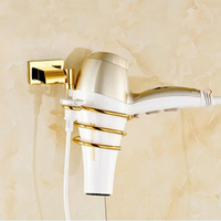 Europe Wall Shelf Antique Golden Finish Brass Bathroom Stand Hair Dryer Holder Wall Mounted Bathroom Accessories