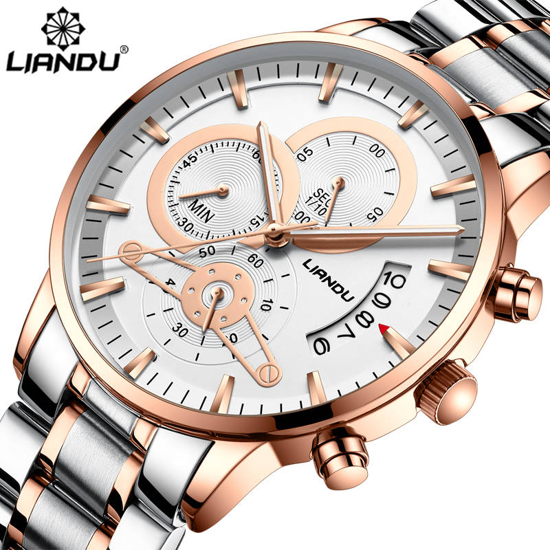 LIANDU Relogio Masculino Men Watches Top Brand Luxury Fashion Business Quartz Analog Watch Men Sport Steel Waterproof Wristwatch analog watch