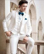 Classic Style One Button Ivory Groom Tuxedos Groomsmen Men's Wedding Prom Suits Bridegroom (Jacket+Pants+Vest+Tie) K:936
