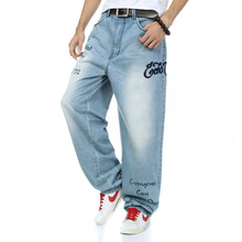 2016 Хлопок большой размер мужчины известный бренд хип-хоп джинсы широкую ногу брюки размер 30-42