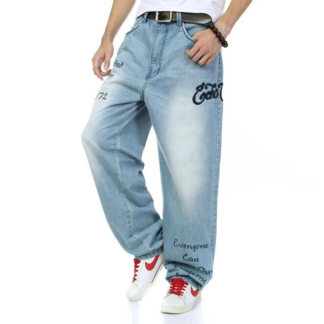 Hip hop jeans perna larga calças estilo casual para homens 2017 nova Algodão dos homens famosa marca tamanho grande tamanho 30-42 atacado