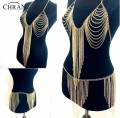 Chran New Halter Lingerie Sexy Showgirl Exotic Bra Chain Tassel Dress harness Slave Body Chain Skirt Belly Waist Jewelry BCJ204
