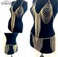 Chran Novo Exótico Sutiã Halter Lingerie Sexy Showgirl Vestido harness Slave Cadeia Corpo Cadeia de Borla Saia de Cintura Barriga Jóias BCJ204