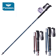 купить Pioneer Portable Trekking Poles Hiking Walking Stick Aluminum Collapsible Adjustable Trekking Cane Hiking Accessories 2 Pcs дешево