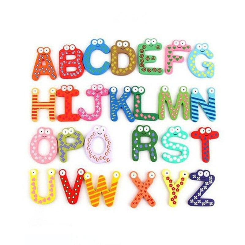 Wooden Fridge Magnet 26 Alphabet Intelligence Development Toy Kids Children Magnetic Sticker Classroom Office Whiteboard Gadget gadget