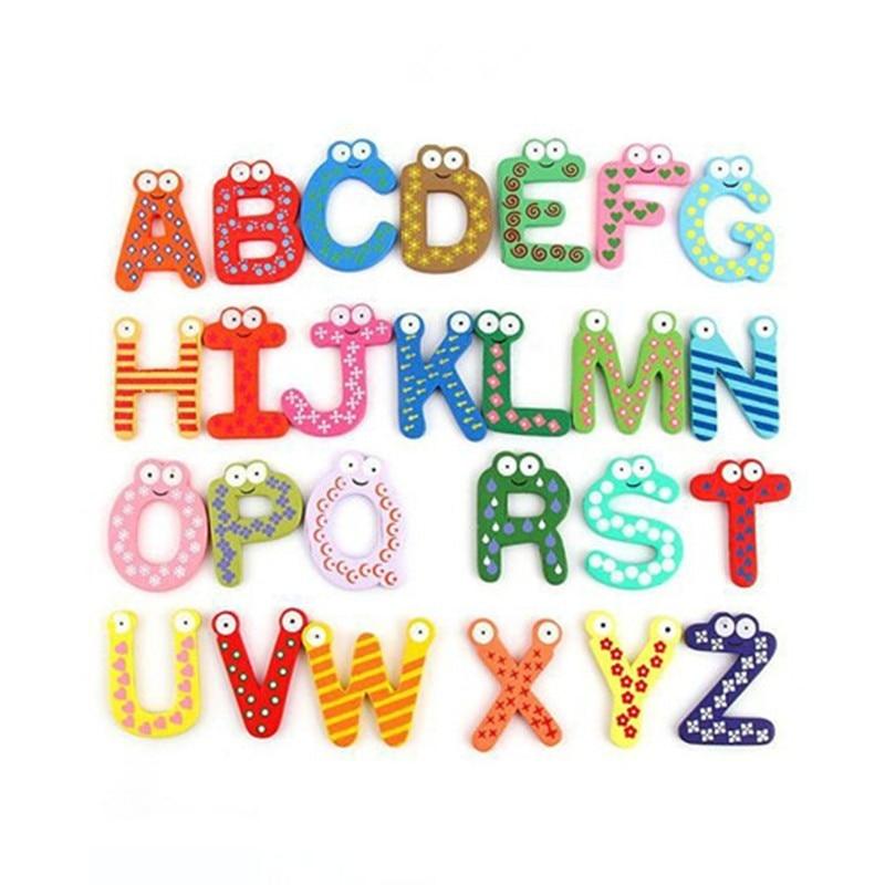 Деревянный магнит на холодильник, 26 алфавитов, интеллектуальная развивающая игрушка, детская магнитная наклейка, классная офисная доска, г...