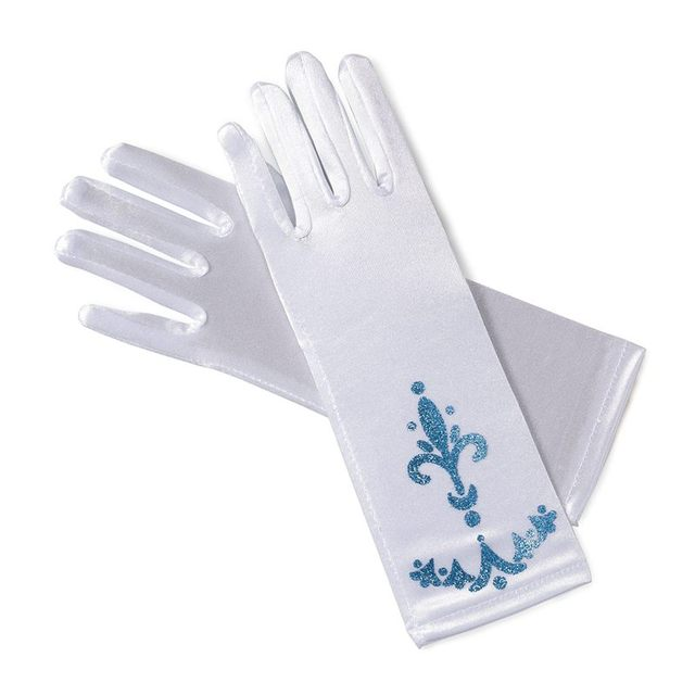 MUABABY Girl Elsa Coronation Gloves 6 colors Brocade Long Finger Gloves 24cm Sequins Printed Cosplay Clothing Girl Party Costume 5