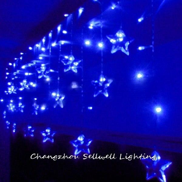 ФОТО GREAT!LED holiday bulb wedding celebration decoration 140 pcs blue five pointed star lamp H282