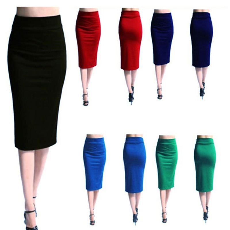 CUHAKCI Bodycon Pencil Skirt Women Sexy Skirt Black High Waist Tight Office Skirt Fashion Slim Casual Skirt
