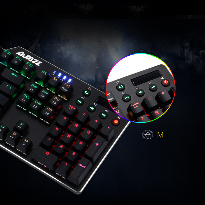 Image 5 - RGB Wired Game Green Shaft Mechanical Keyboard With Backlight Alloy usb 110 keys Green Axis Gaming Keyboards for Tablet pc Q70-in Keyboards from Computer & Office