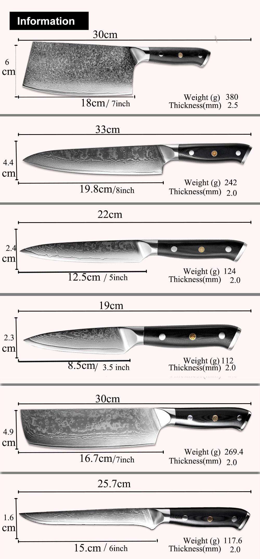 Damascus Steel Kitchen Knife Set Information