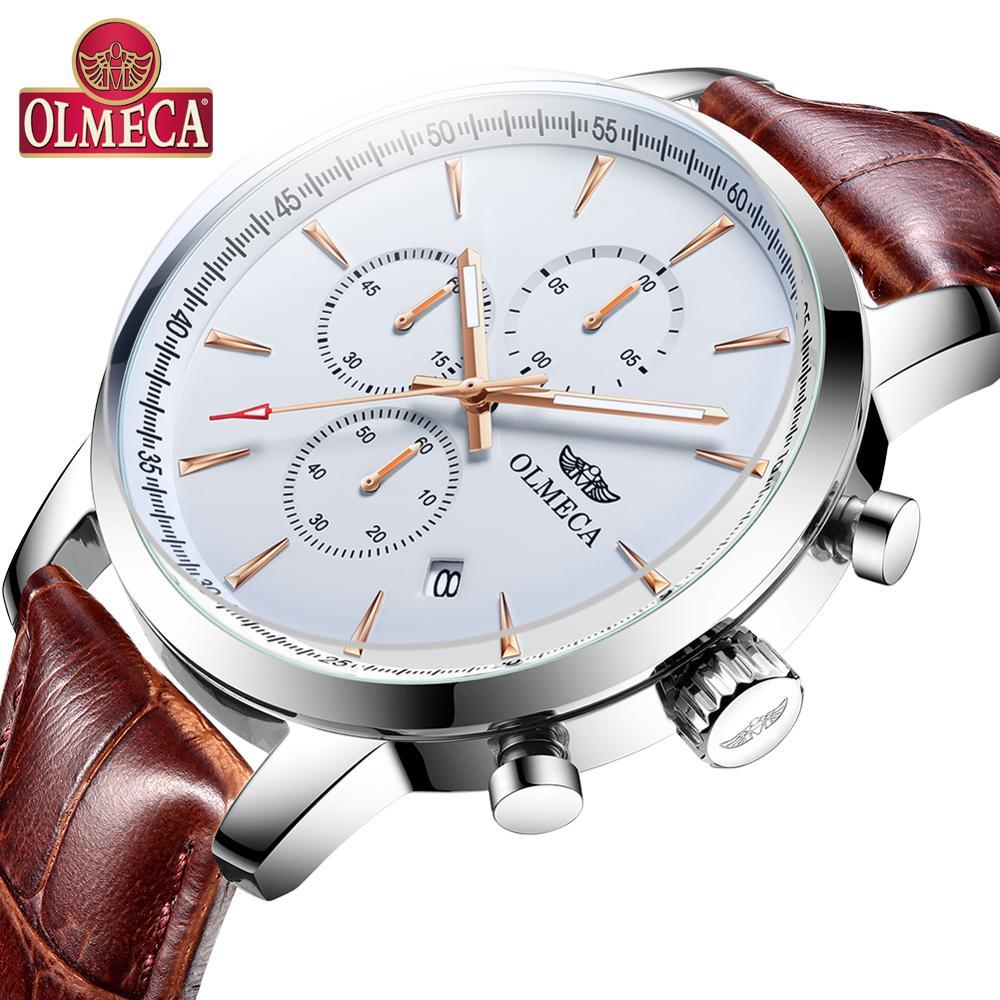 Luxury Men Watches OLMECA Top Brand Watch Military 30M Waterproof Clock Chronograph Genuine Leather Wrist Watch For Men
