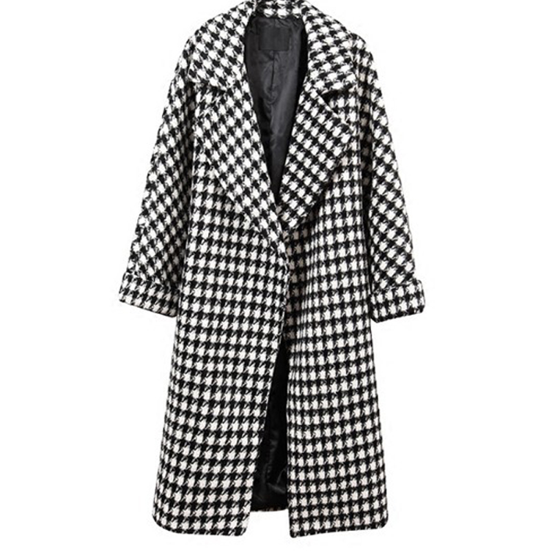 Vogue Korea Ladies Clothing Winter Black White Plaid Wool Coat Fashion Plus Size Long Vintage Warm Overcoat for Women ladies consultation coat white size 14 1 each model 88018qhw14