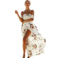 2017 מראה אופנה חדש שמלות הדפסת מקסי שמלה סקסית מכתף החוף קצר שרוולים סדק לבן/יין/מישמש 61553