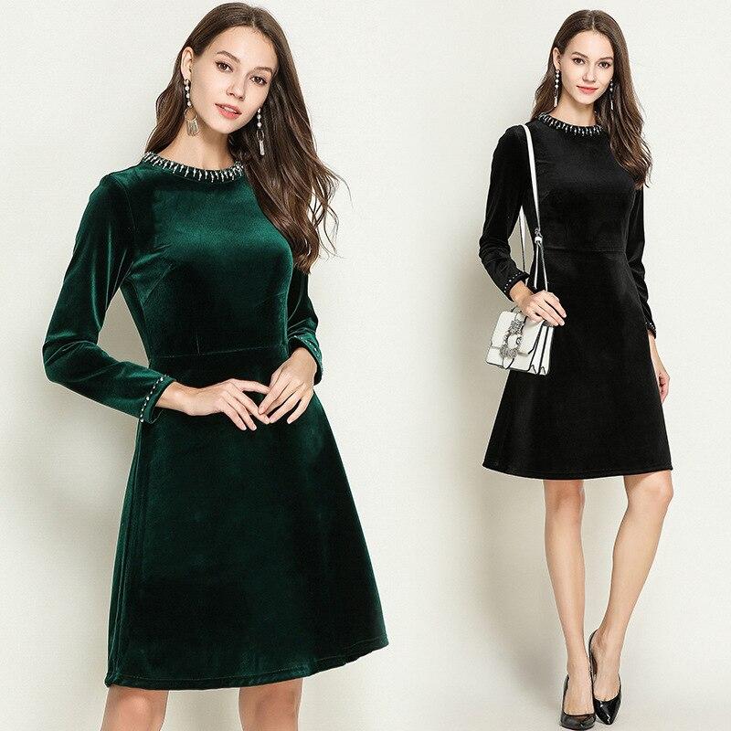 Automne hiver dames élégant a-ligne robe perlée à manches longues or velours robe grande taille cultivant Jurken vestidos XXXXXL 5XL