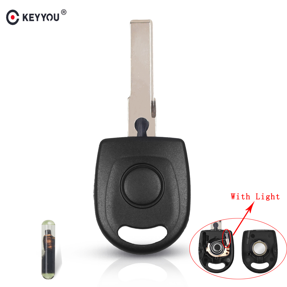KEYYOU Transponder Key Shell With ID48 Chip For VW Polo Golf For SEAT Ibiza Leon For SKODA Octavia With Light & Battery Car Key
