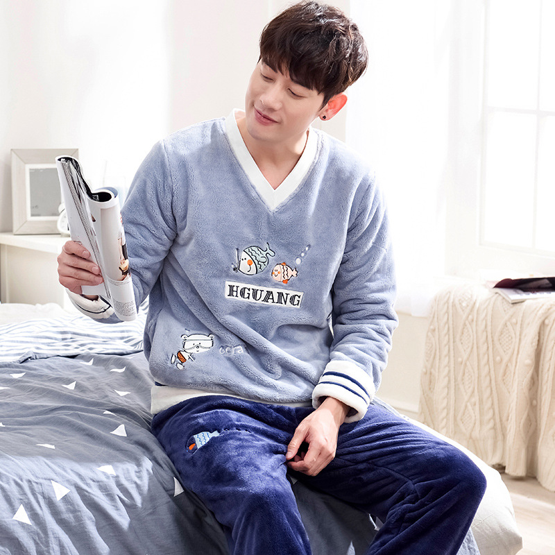 Autumn Winter Flannel Long Sleeve Pajamas Sets For men 1001-8026