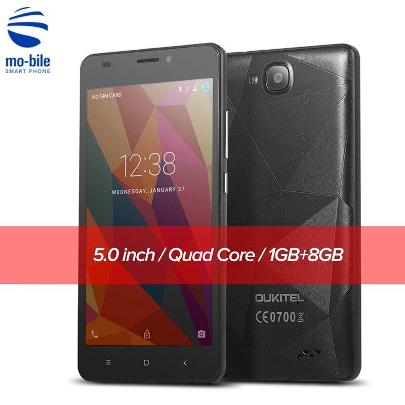 Цена за Oukitel C3 5.0 ''Android 6.0 3 Г Смартфон MTK6580 Quad Core 2000 мАч Экран Мобильный Телефон 1280*720 1 ГБ RAM 8 ГБ ROM Мобильного Телефона