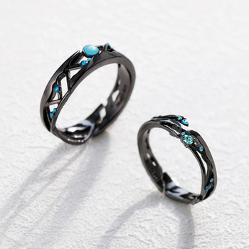 Milky Way Black Rings with Blue Zirconia 5