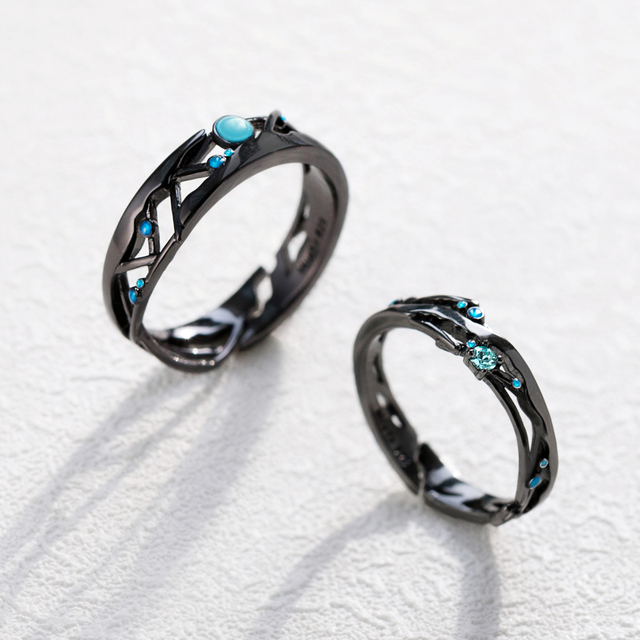 Thaya CZ Milky Way Black Rings Blue Bright Cubic Zirconia Rings 925 Silver Jewelry for Women Lover Vintage Bohemian Retro Gift 5
