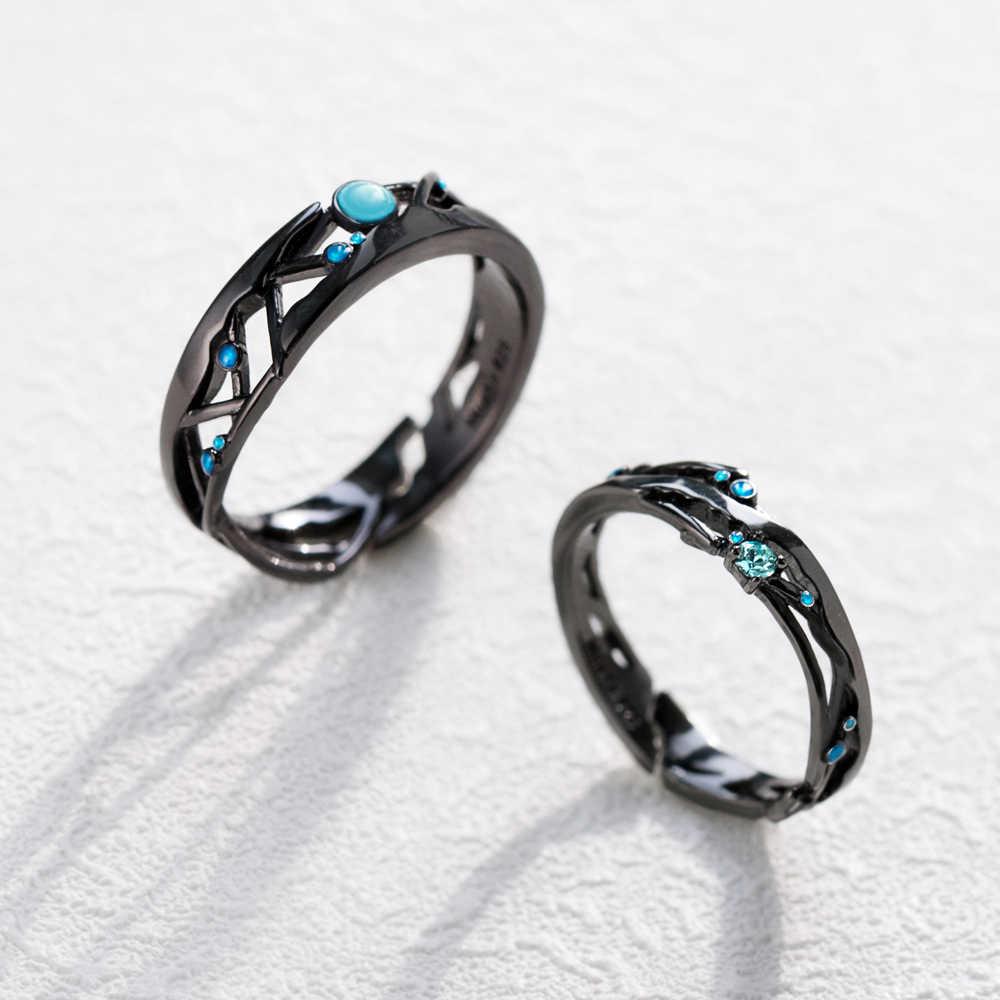 Thaya CZ Milky Way สีดำแหวนสีฟ้าสดใส Cubic Zirconia แหวนเงิน 925 เครื่องประดับสำหรับคนรักผู้หญิง Vintage Bohemian Retro ของขวัญ