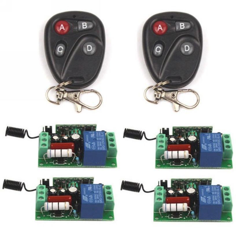 AC 110V 10A 1CH Relay 2 4-key wireless Tech Remote Switch Transmitter+4 Receiver