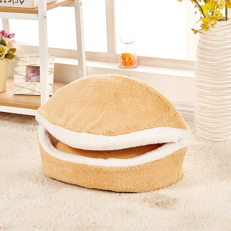 Pet Supplier Dog Cat Bed Hamburger Shape Pet House Windproof Warm In Winter /autumn New Design Puppy Teddy Round Detachable