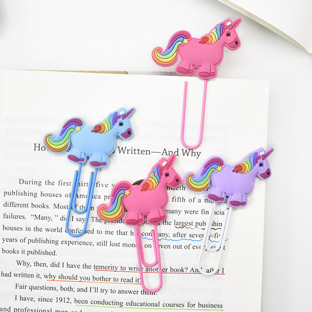 3pcs/lot Kawaii Silicone Unicorn Bookmark Paper Clip Cute Mini Book Marker For Kids Student Gift Stationery Office School Supply