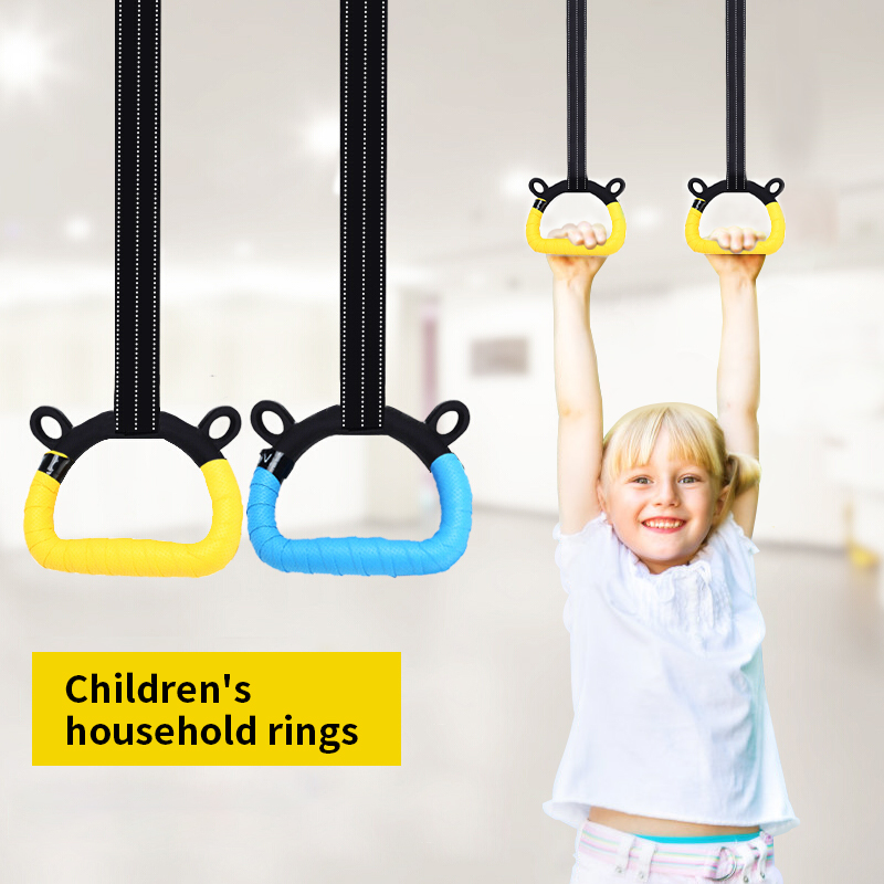 Kids ABS Gymnastic Rings Gym Rings with Adjustable Straps Heavy Duty Gym Equipment for Home Gym Train Workout