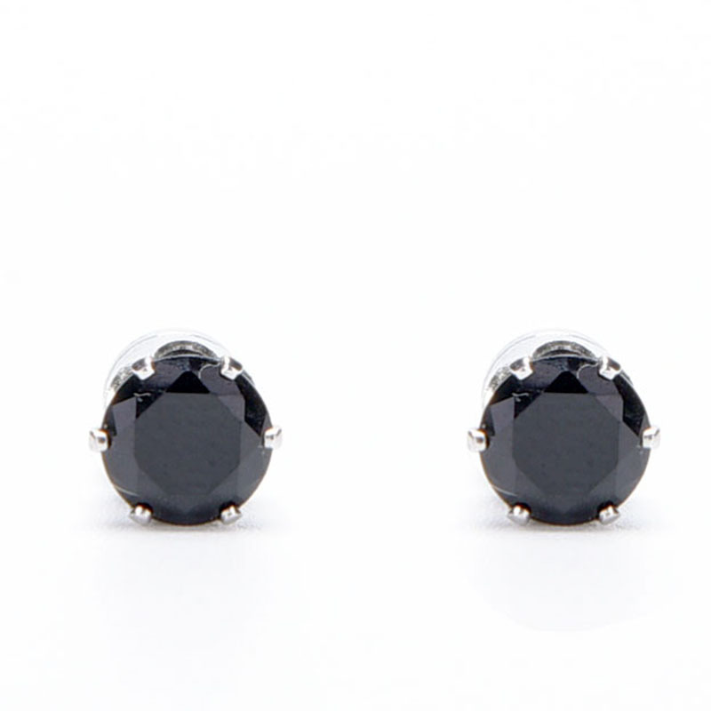 White Black Magnetic Magnet Ear Stud Easy Use Crystal Stone Earrings For Women Men Clip On No Hole Gif 1 Pair