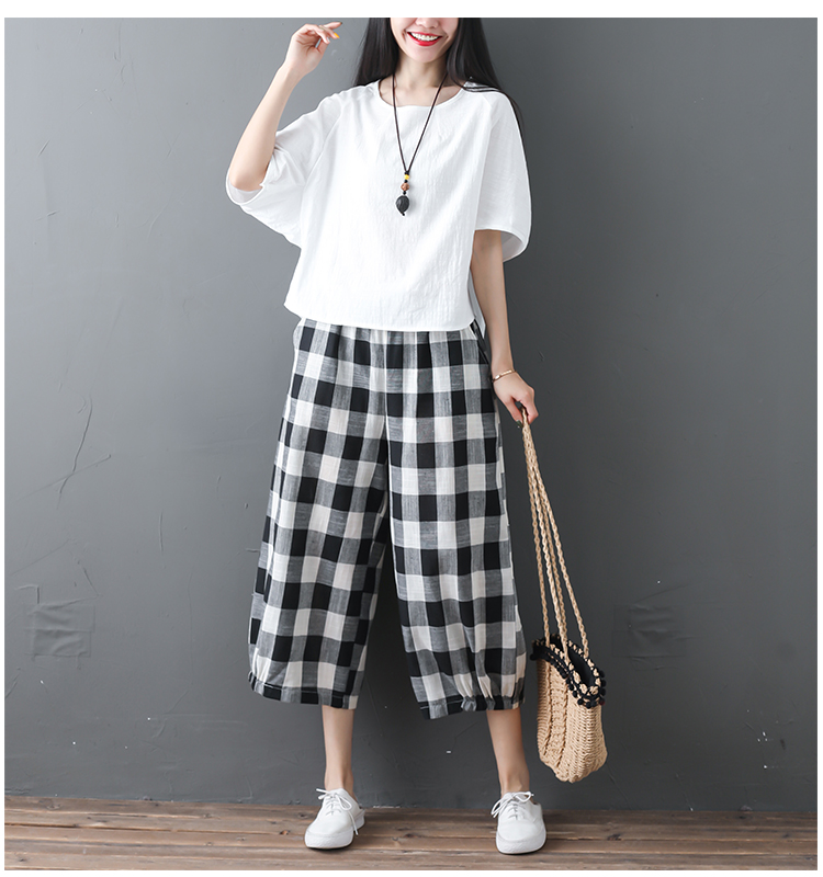 2019 Cotton Linen Two Piece Sets Women Plus Size Half Sleeve Tops And Wide Leg Cropped Pants Casual Vintage Women's Sets Suits 64