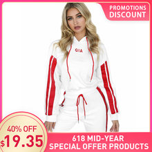 2019 Womens Color Matching Striped Short Hooded Casual Sports Suit Ladies Hoodie + Pants Loose Comfortable Streetwear