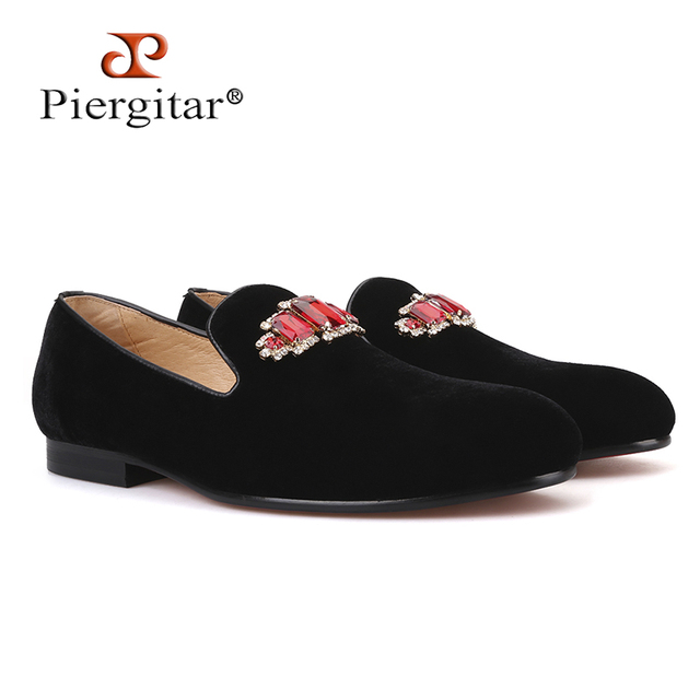 Piergitar 2019 new style Handmade men velvet shoes with luxurious Rhinestone  Prom and Banquet men's loafers somking slippers