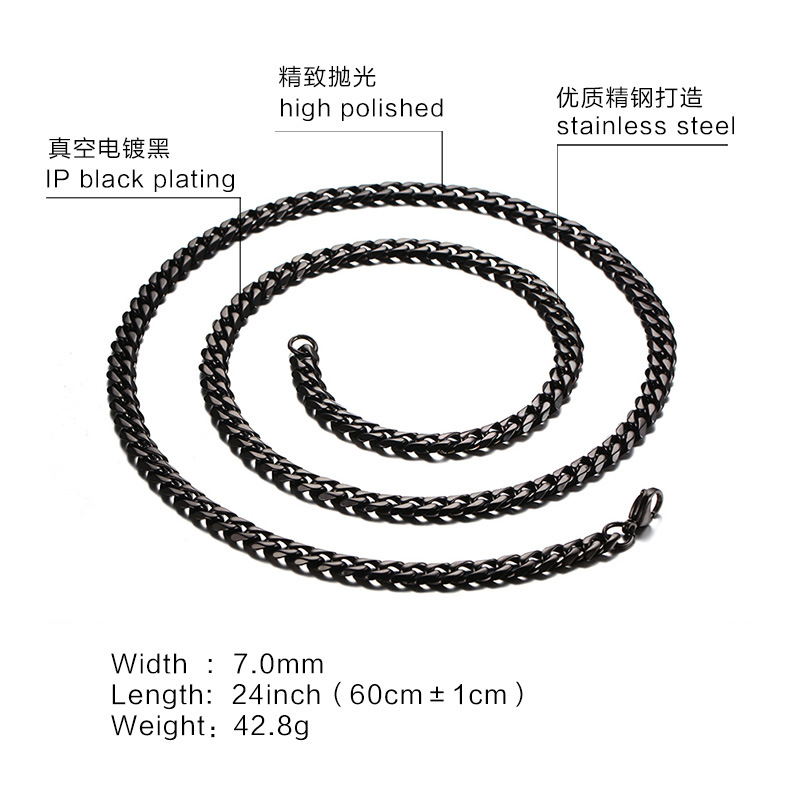 TR01 Manufacturer wholesale 7mm s925 silver chain black mens and womens necklace wholesale Korean versionTR01 Manufacturer wholesale 7mm s925 silver chain black mens and womens necklace wholesale Korean version