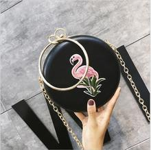 где купить National Embroidery Circle Bag Women Portable Handbags Small PU Leather Messenger Bags Vintage Ladies Circular Bag Evening Bags. по лучшей цене